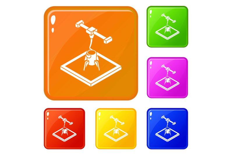 rocket-d-printing-icons-set-vector-color