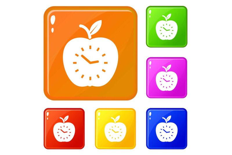 time-apple-icons-set-vector-color