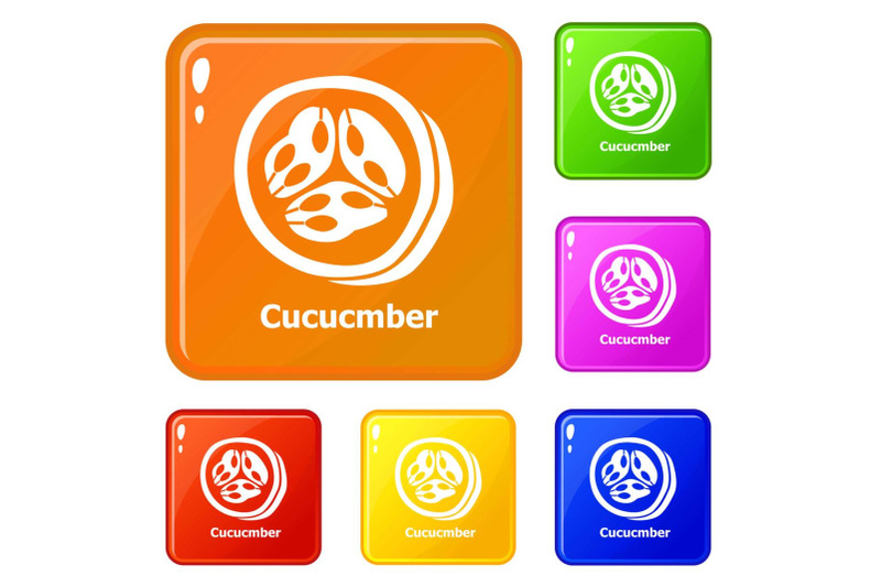 cucumber-icons-set-vector-color