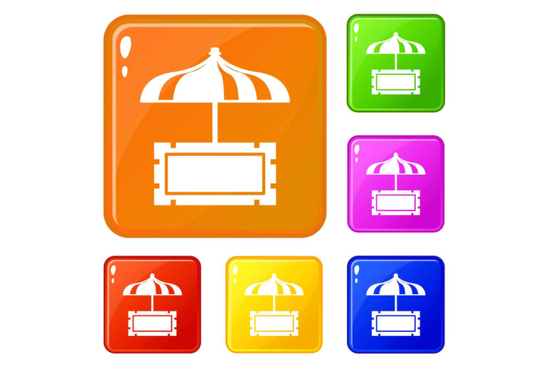 snack-stall-icons-set-vector-color