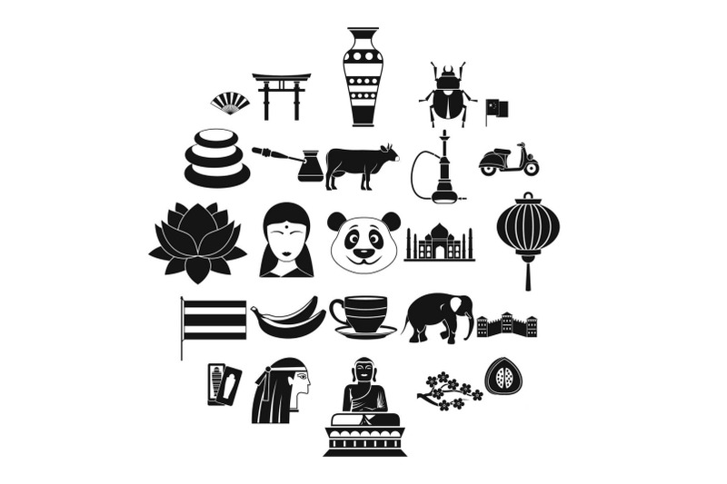 mysteries-of-asia-icons-set-simple-style