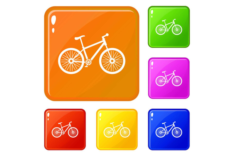 bicycle-icons-set-vector-color
