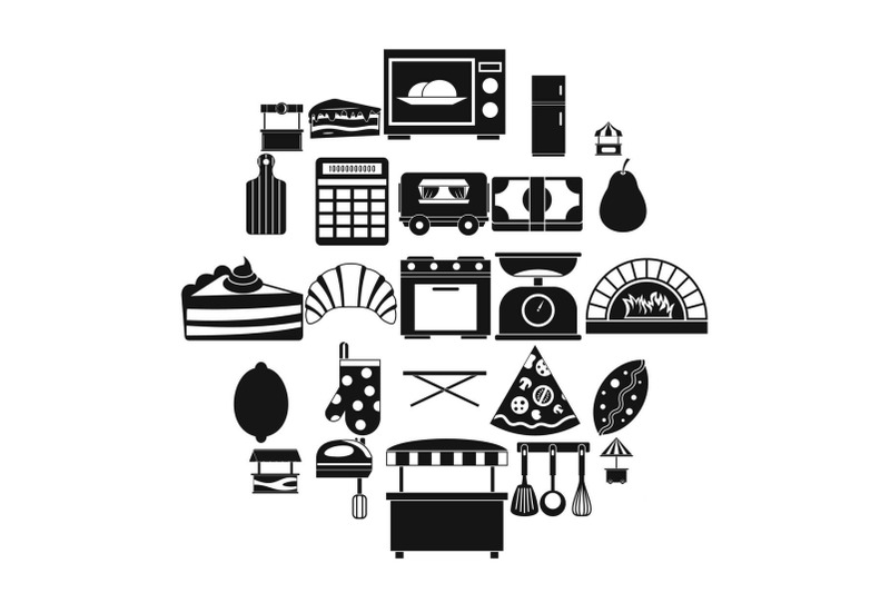 shop-with-buns-icons-set-simple-style