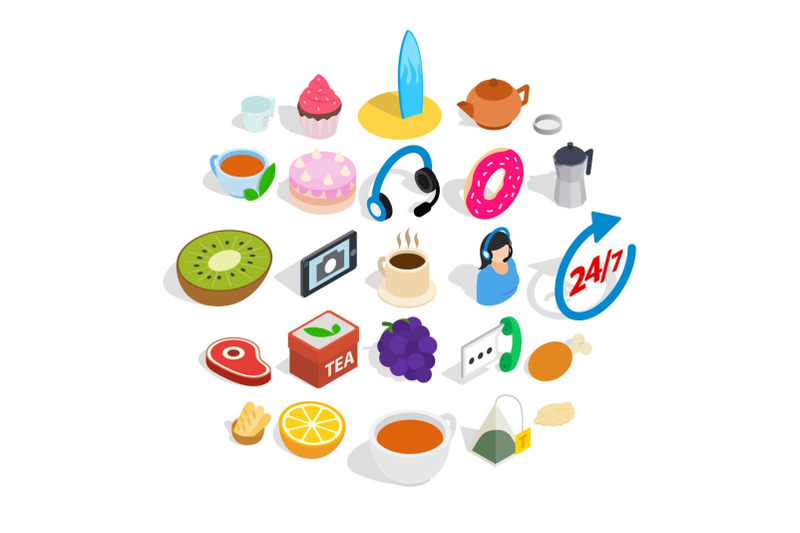 tea-and-bun-icons-set-isometric-style