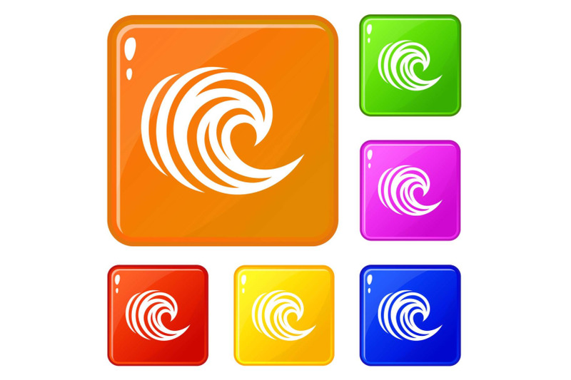 water-wave-icons-set-vector-color