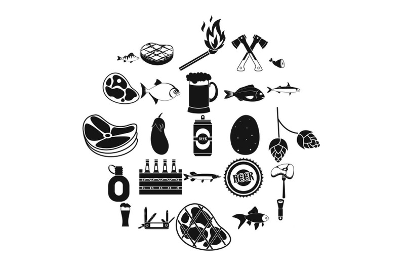 camping-icons-set-simple-style