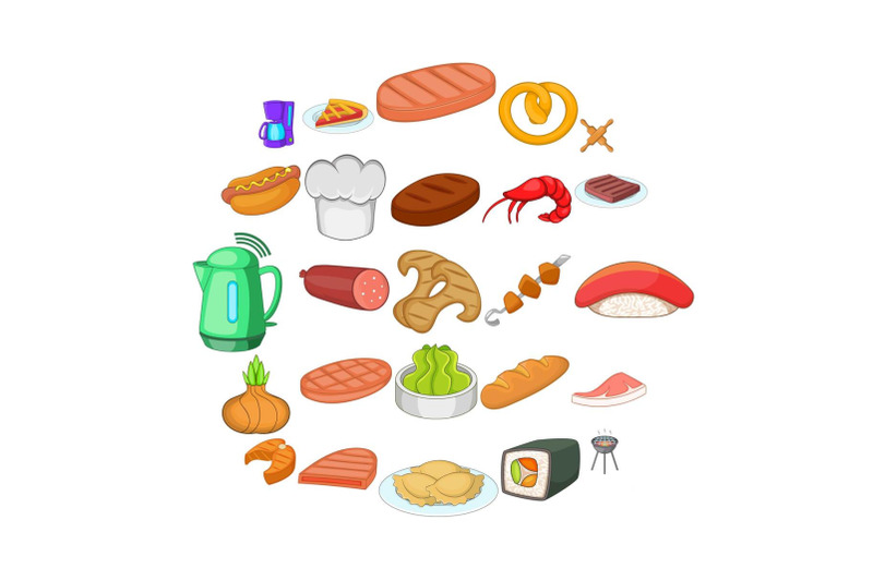 meat-delicacy-icons-set-cartoon-style