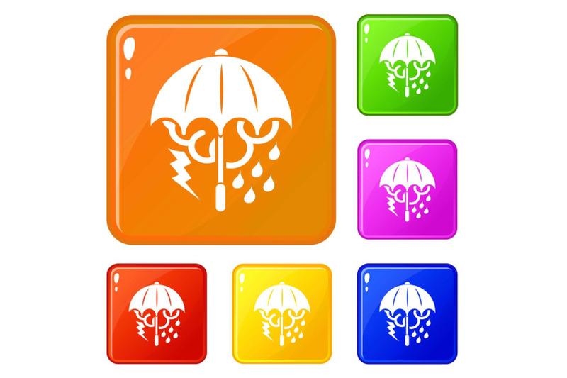storm-umbrella-icons-set-vector-color