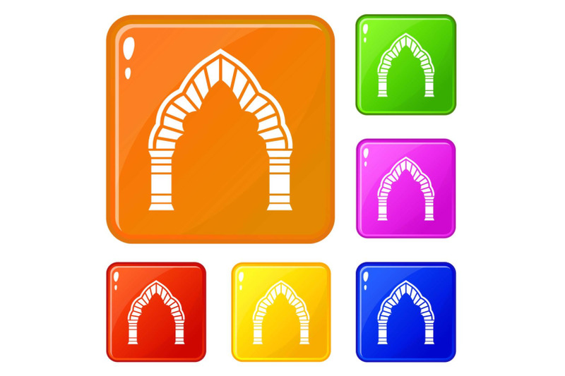 round-arch-icons-set-vector-color