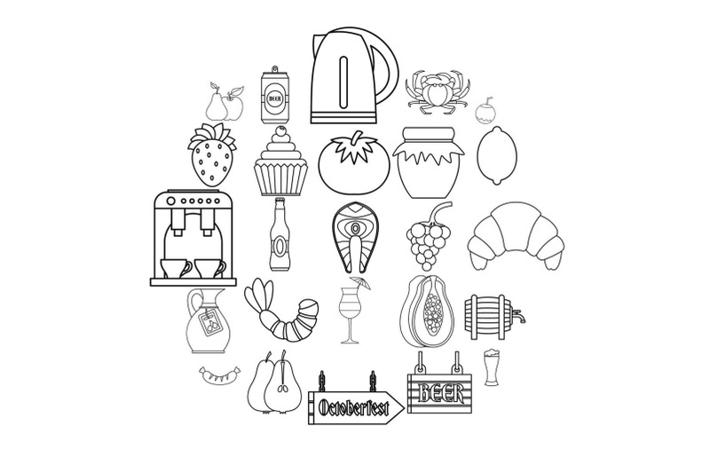 picnic-icons-set-outline-style