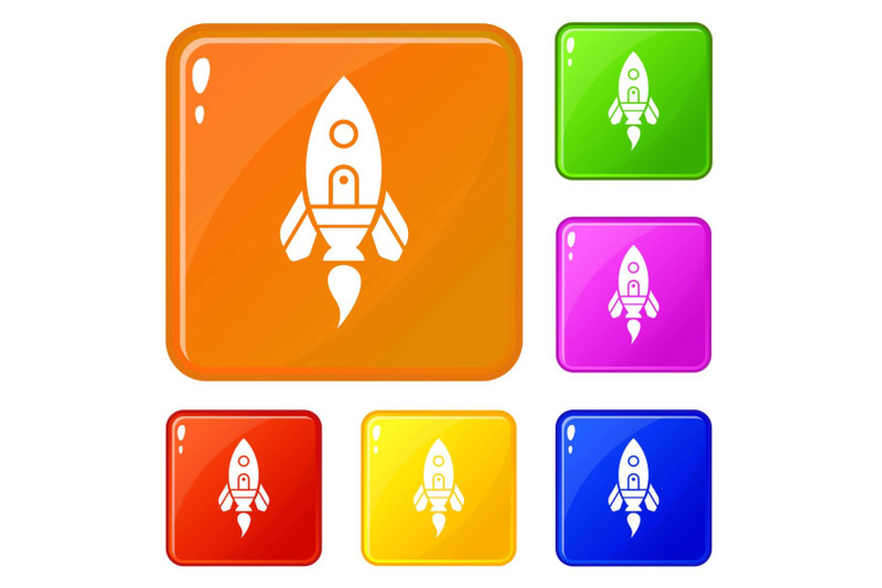 rocket-spaceship-icons-set-vector-color