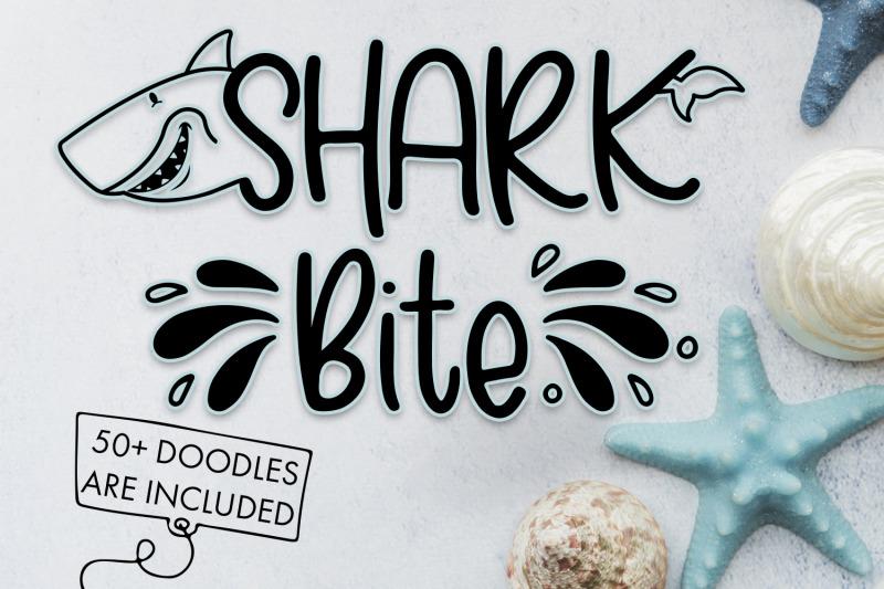 shark-bite-a-shark-font-plus-nautical-doodles