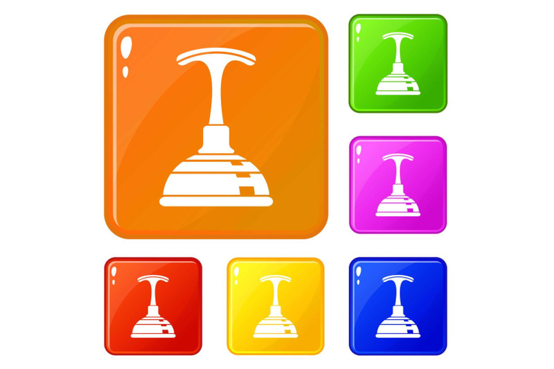 plunger-icons-set-vector-color