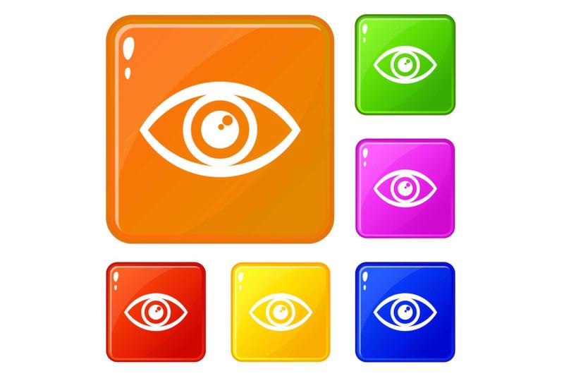 human-eye-icons-set-vector-color