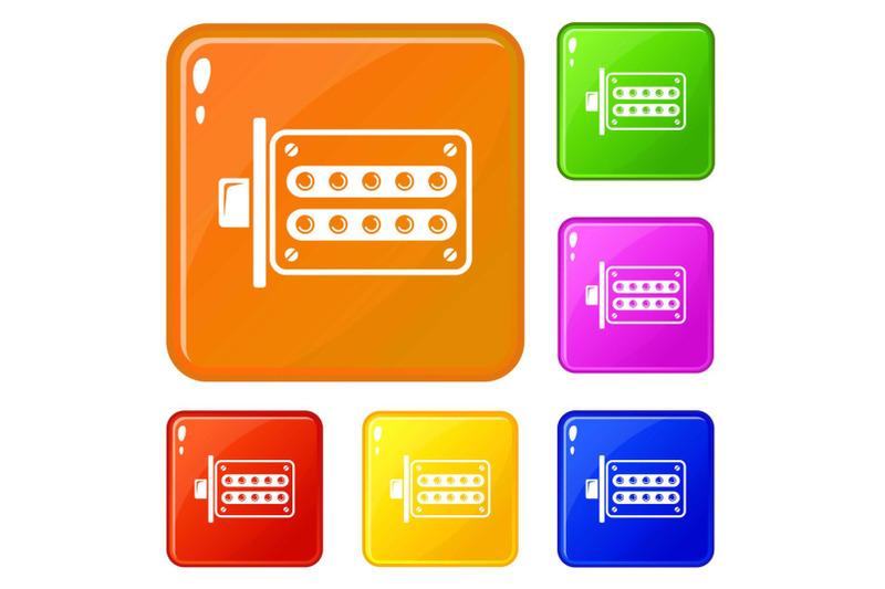 push-button-lock-icons-set-vector-color