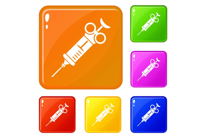 pharmacy-syringe-icons-set-vector-color