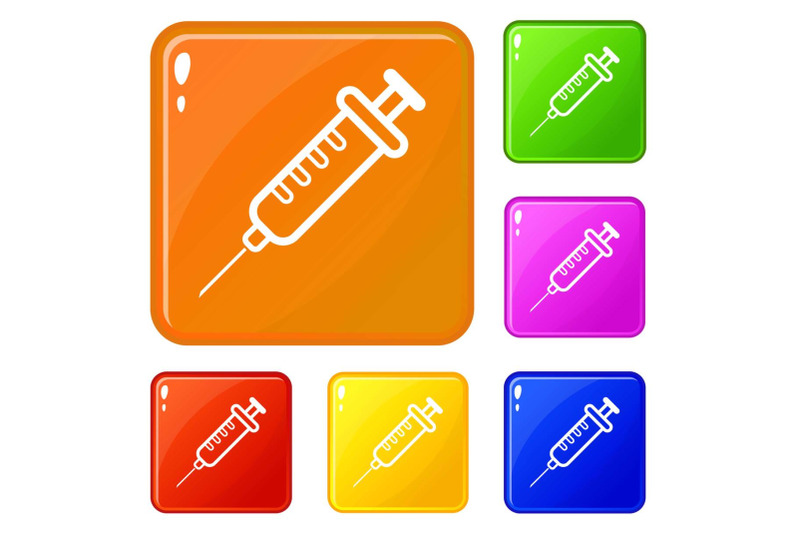clinical-syringe-icons-set-vector-color