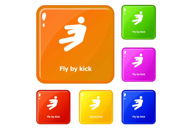 fly-by-kick-icons-set-vector-color