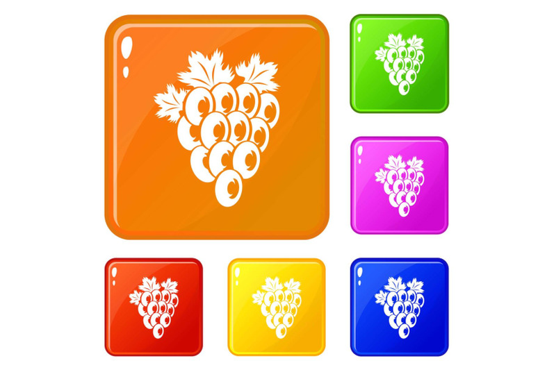 bunch-of-grape-icons-set-vector-color