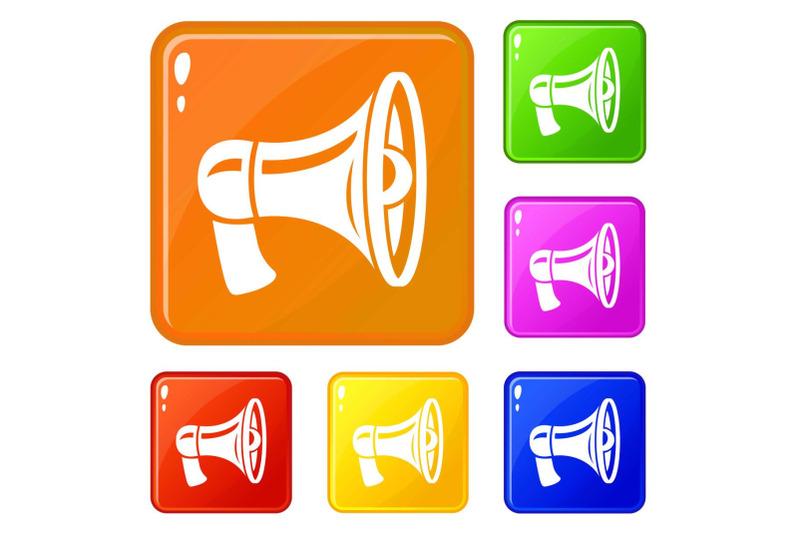 retro-megaphone-icons-set-vector-color