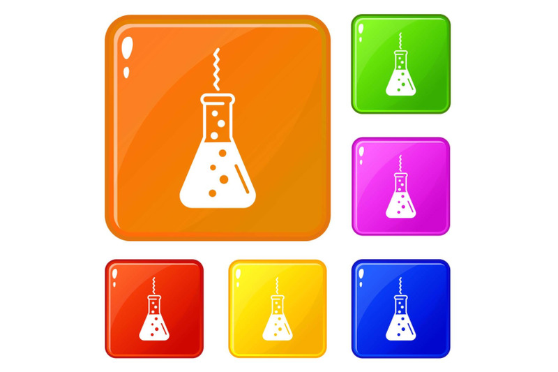 chemistry-flask-factory-icons-set-vector-color