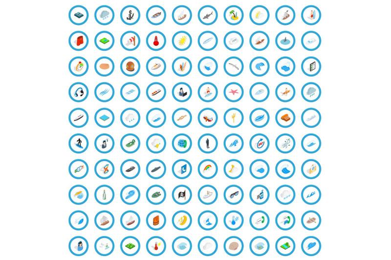100-nautical-icons-set-isometric-3d-style