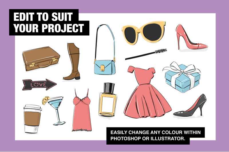fashion-props-and-objects-illustration-collection