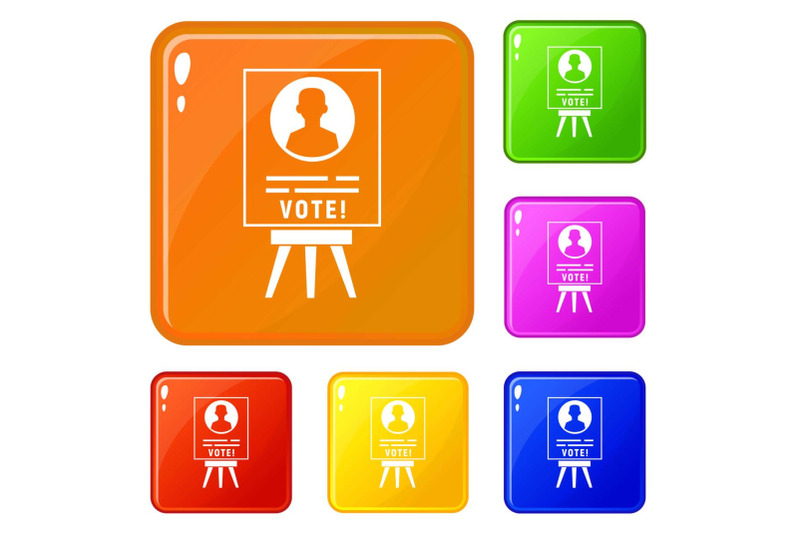 candidate-election-stand-icons-set-vector-color