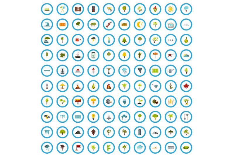 100-park-icons-set-flat-style