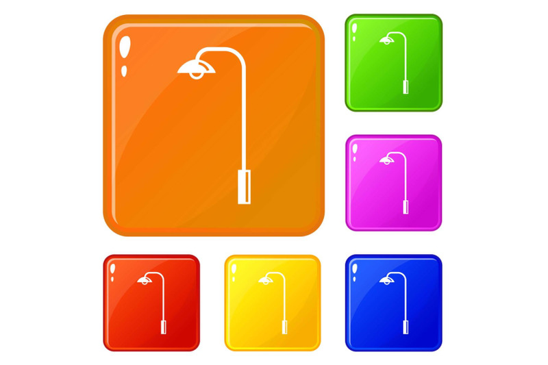 electric-tower-icons-set-vector-color