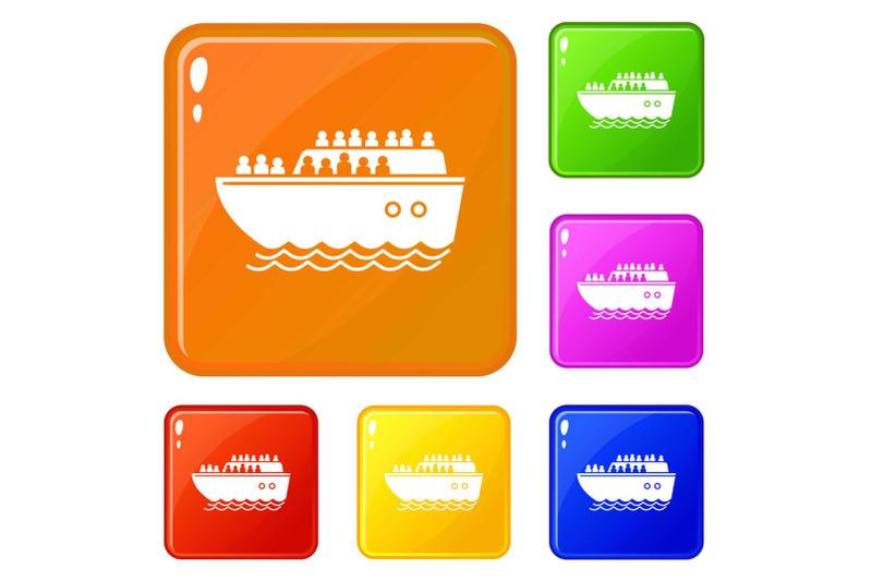 migrant-ship-icons-set-vector-color