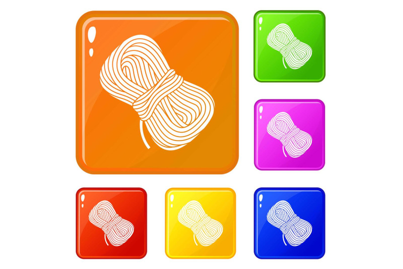 hiking-rope-icons-set-vector-color