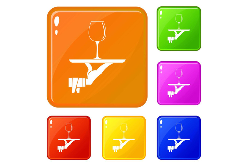 waiter-hand-holding-tray-with-wine-glass-icons-set-vector-color