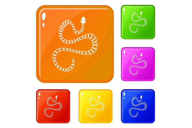 white-striped-snake-icons-set-vector-color