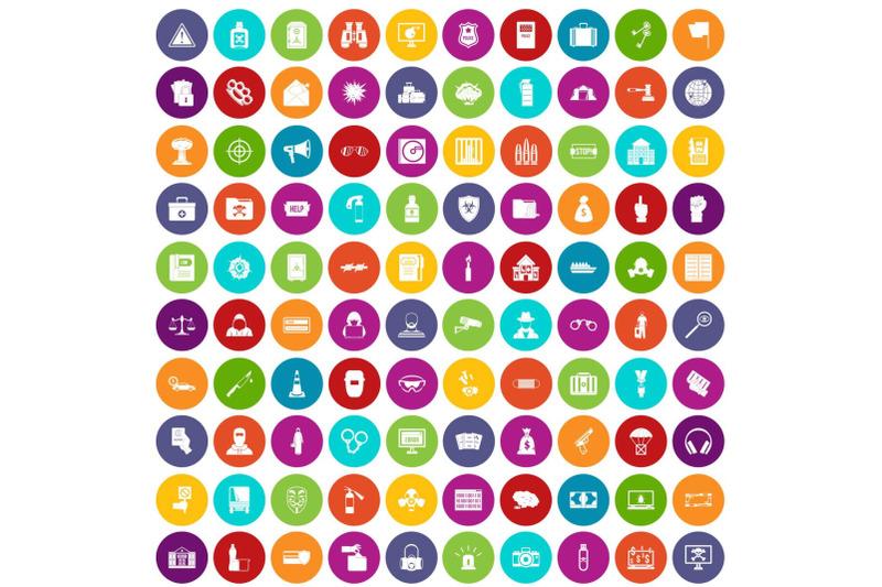 100-crime-icons-set-color