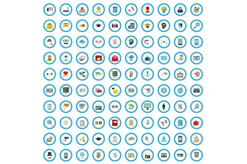 100-society-icons-set-flat-style