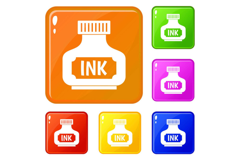 black-ink-bottle-icons-set-vector-color
