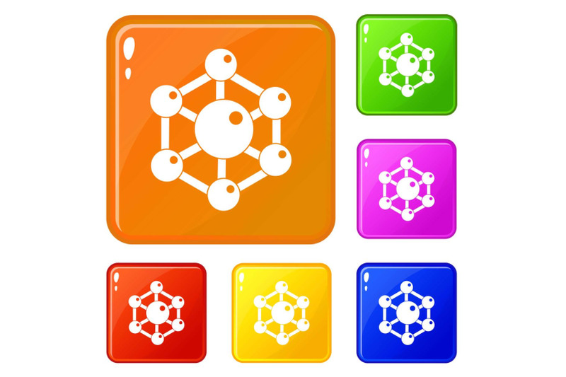 chemical-and-physical-molecules-icons-set-vector-color