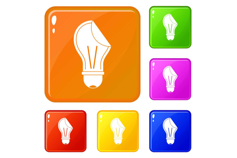 bulb-sticker-icons-set-vector-color