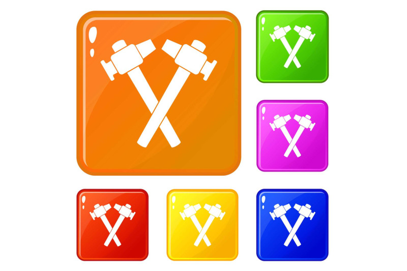crossed-blacksmith-hammer-icons-set-vector-color