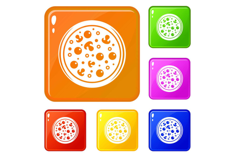pizza-with-olives-and-mushrooms-icons-set-vector-color