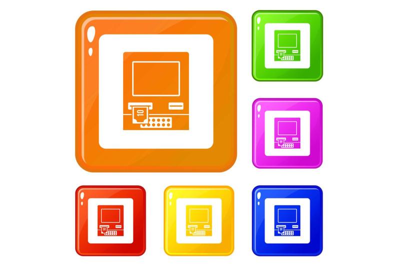 atm-bank-cash-machine-icons-set-vector-color