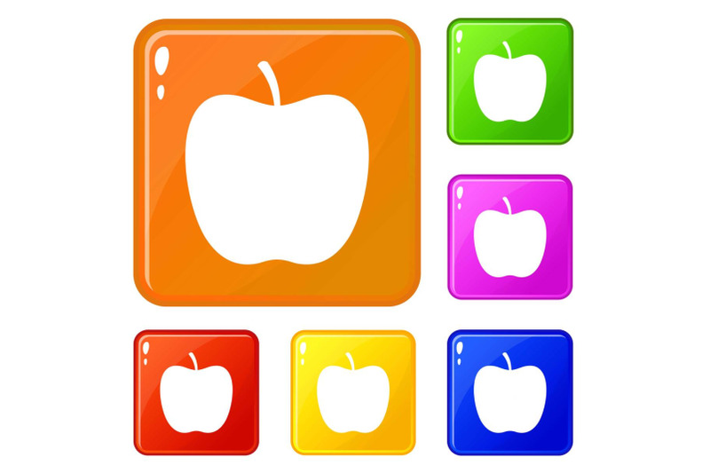 glossy-apple-icons-set-vector-color