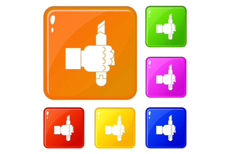 hand-hoding-construction-utility-knife-icons-set-vector-color