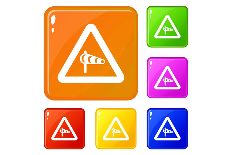 sign-warning-about-cross-wind-from-the-left-icons-set-vector-color