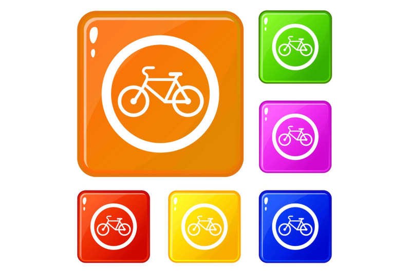 travel-by-bicycle-is-prohibited-traffic-sign-icons-set-vector-color
