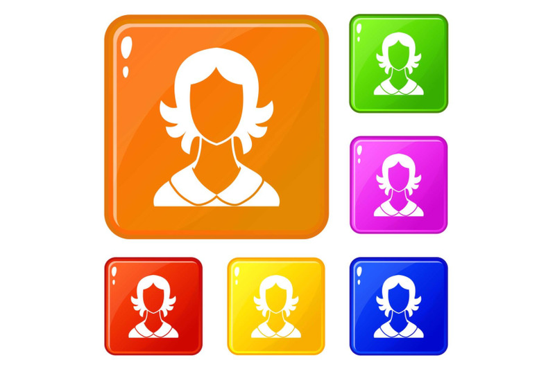 woman-icons-set-vector-color