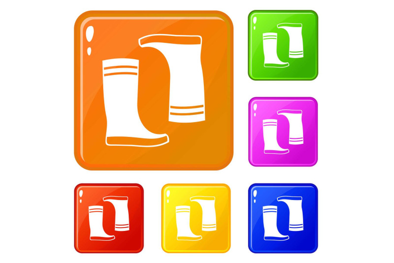 rubber-boots-icons-set-vector-color