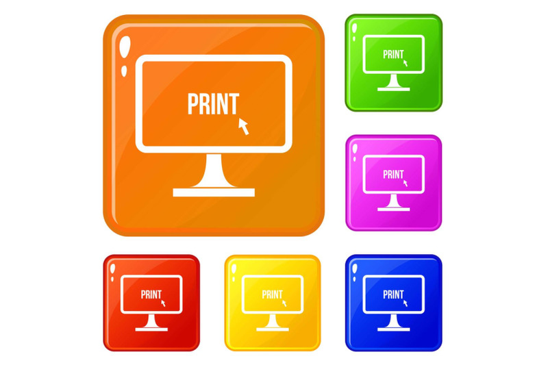print-word-on-a-computer-monitor-icons-set-vector-color