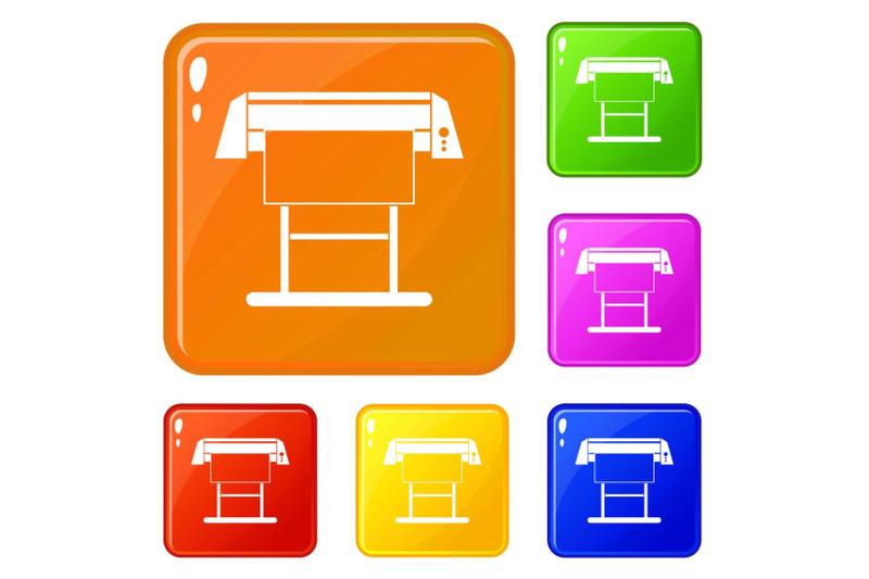 large-format-inkjet-printer-icons-set-vector-color